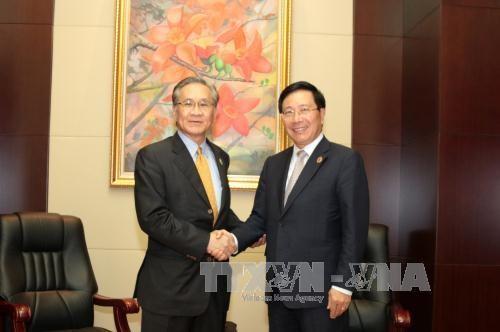 越南政府副总理兼外交部长范平明分别会见各国外长 hinh anh 1