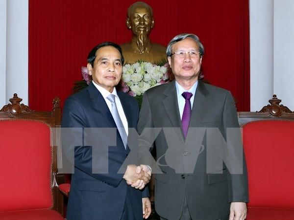 越共中央检查委员会主任陈国汪会见老挝国家监察署高级代表团 hinh anh 1