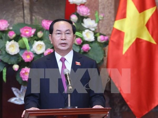 越南新任国家主席陈大光接受媒体记者的采访 hinh anh 1