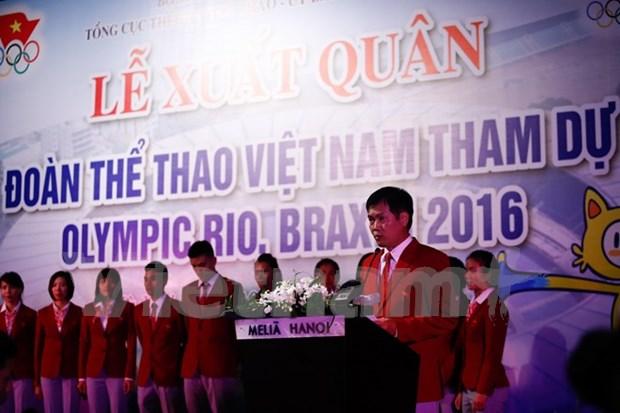 里约奥运越南体育代表团升旗仪式在巴西里约奥运村举行 hinh anh 1