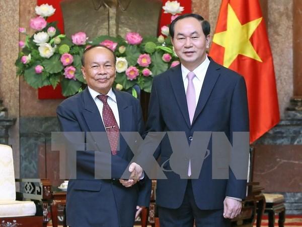 越南国家主席陈大光会见柬埔寨国家宗教事务部高级部长亨柴 hinh anh 1