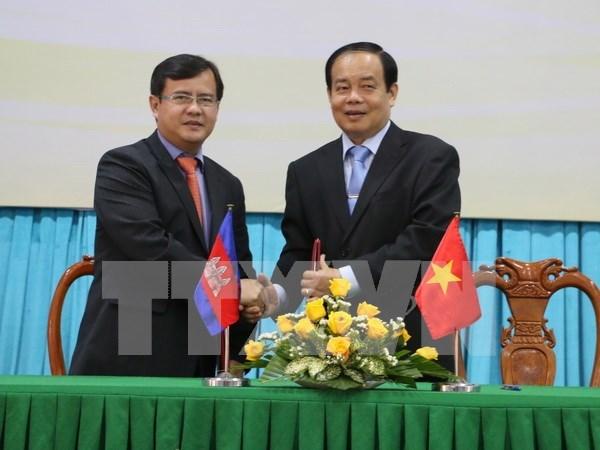 越南安江省与柬埔寨茶胶省和干丹省加强合作关系 hinh anh 1
