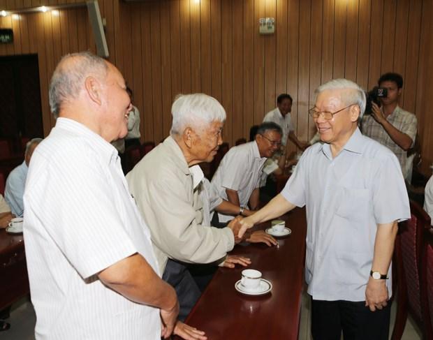 阮富仲总书记在胡志明市会见南部离退休高级干部 hinh anh 1