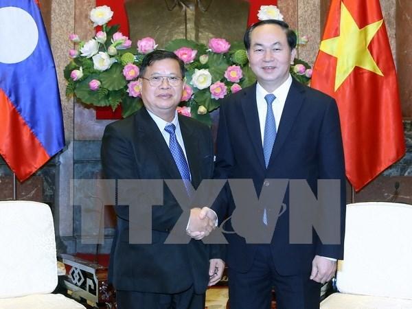 越南国家主席陈大光会见老挝国会副主席宋潘•平坎米 hinh anh 1