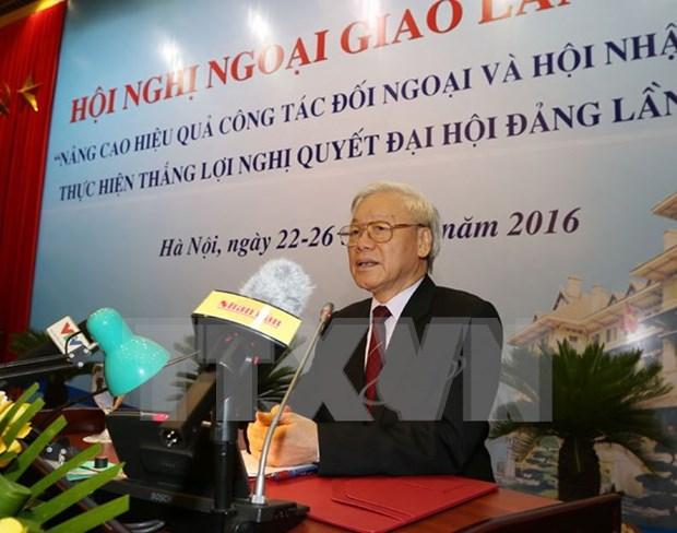 越共中央总书记阮富仲出席第29届外交会议 hinh anh 1