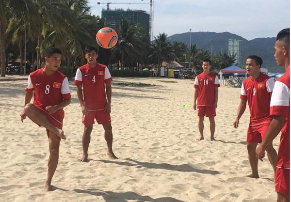 越南沙滩足球队参加2016年首届亚洲沙滩足球锦标赛 hinh anh 1