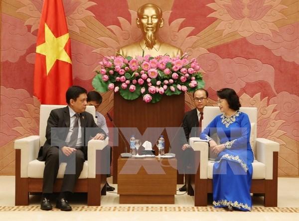越南国会主席阮氏金银会见新西兰和菲律宾驻越大使 hinh anh 2