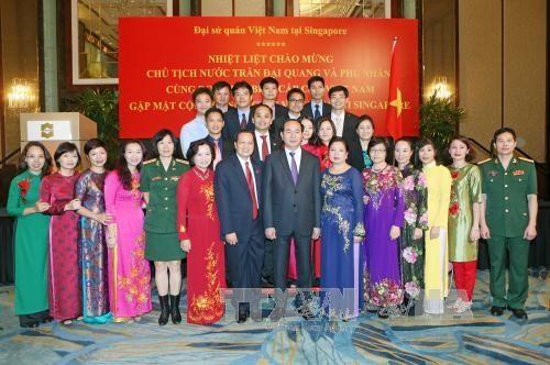 陈大光主席与越南驻新大使馆干部职员和旅居新越南人代表举行见面会 hinh anh 2