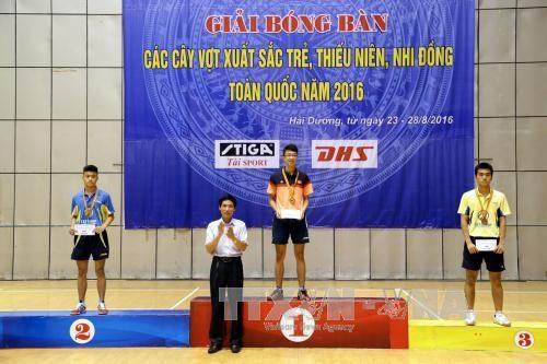 海阳队在2016年越南全国青少年乒乓球比赛取得最佳成绩 hinh anh 1