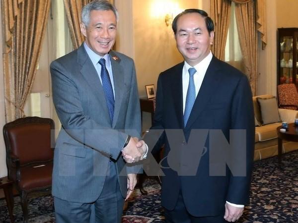 国家主席陈大光访问文莱和新加坡之旅开辟新合作机会 hinh anh 1