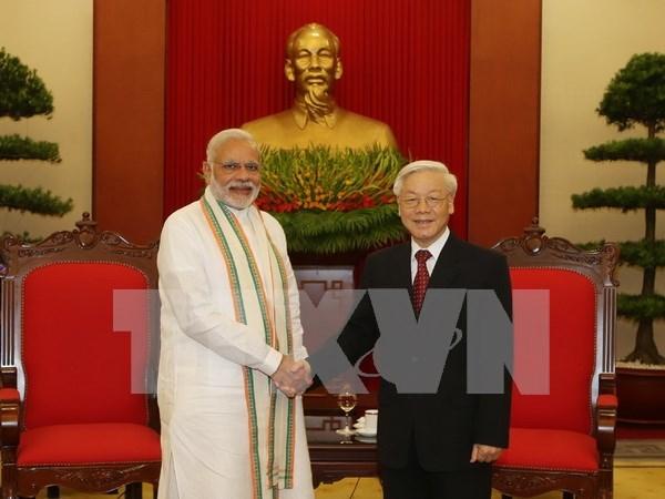 越共中央总书记阮富仲会见印度总理纳伦德拉•莫迪 hinh anh 1