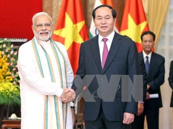 国家主席陈大光会见印度总理莫迪 hinh anh 1