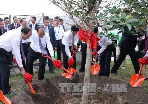 阮春福总理走访慰问越南中央学舍区与广西现代农业技术展示中心 hinh anh 2