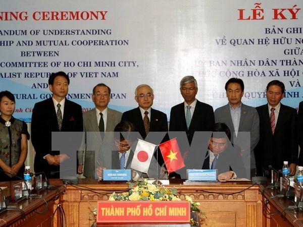 越南胡志明市与日本爱知县签署友好合作关系备忘录 hinh anh 1