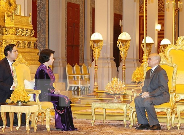 国会主席阮氏金银礼节性拜会柬埔寨国王诺罗敦•西哈莫尼 hinh anh 1