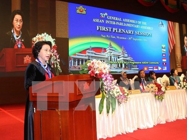 阮氏金银主席:将东盟议会联盟大会建设成为一个团结、民主与和谐的大会 hinh anh 1