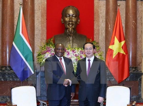 越南国家主席陈大光会见南非副总统和英国议会下议院副议长 hinh anh 1