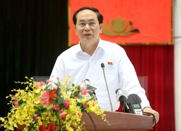 越南国家主席陈大光接触胡志明市选民 hinh anh 1