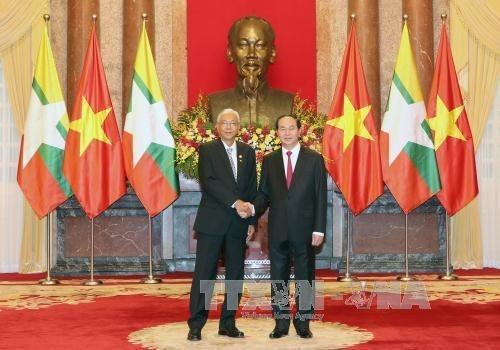 缅甸总统吴廷觉圆满结束对越南进行的国事访问 hinh anh 1