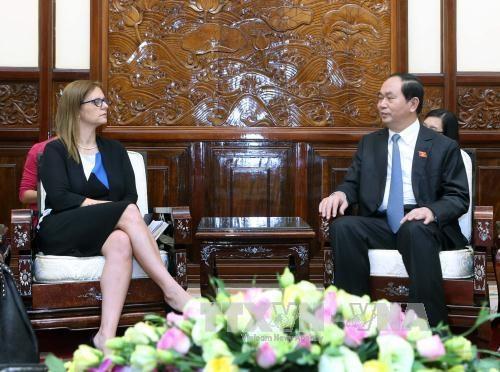 国家主席陈大光会见以色列驻越大使埃隆·沙哈尔 hinh anh 1