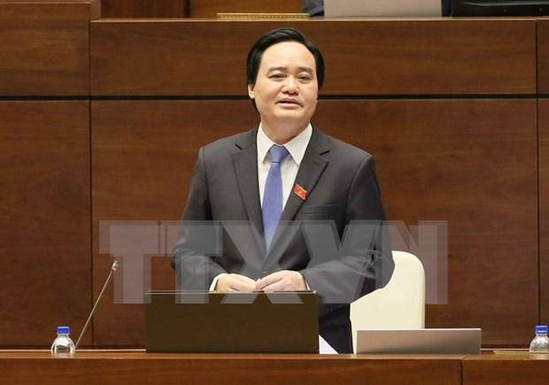 第十四届国会第二次会议:教育培训部部长冯春讶解答国会代表的质询 hinh anh 1