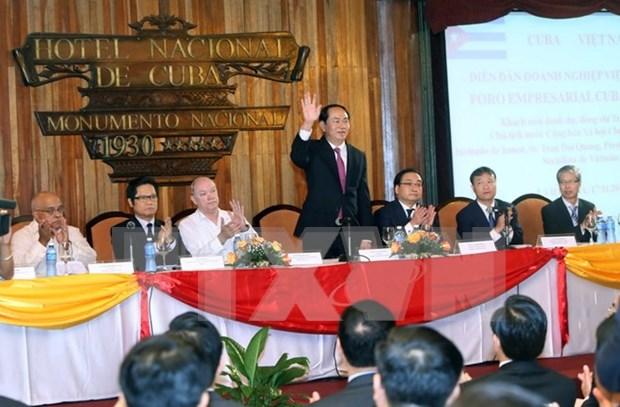 陈大光主席出席越古企业论坛 圆满结束对古巴访问 hinh anh 1