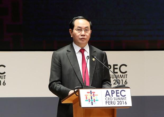 越南国家主席陈大光出席2016年亚太经合组织领导人会议周 hinh anh 3