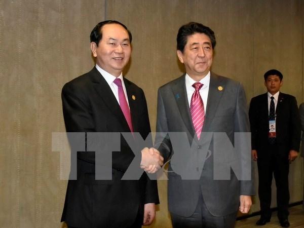 国家主席陈大光与日本首相安倍晋三举行会谈 hinh anh 1