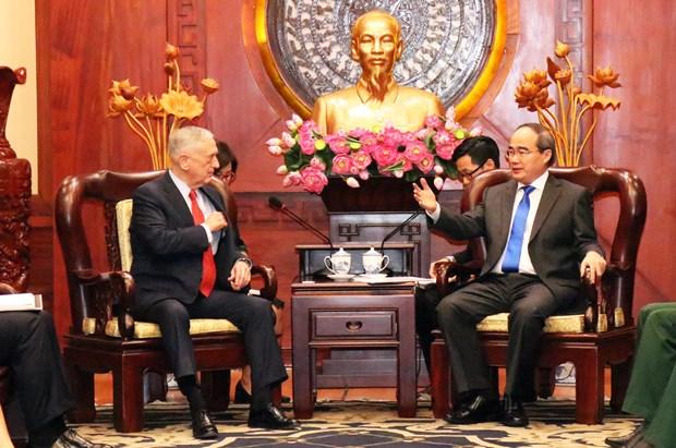 胡志明市领导会见美国国防部部长 hinh anh 1