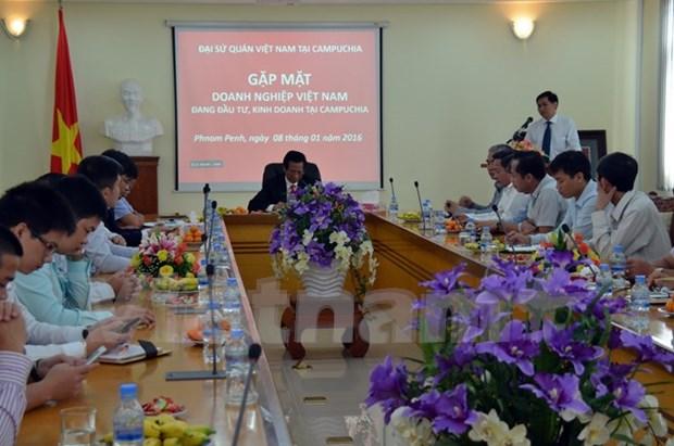 越南驻柬埔寨大使馆举行企业见面会 hinh anh 1