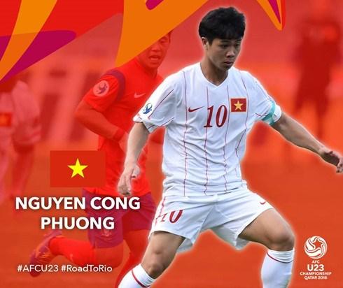 越南球员阮公凤进入U23亚洲杯最佳球员名单 hinh anh 1