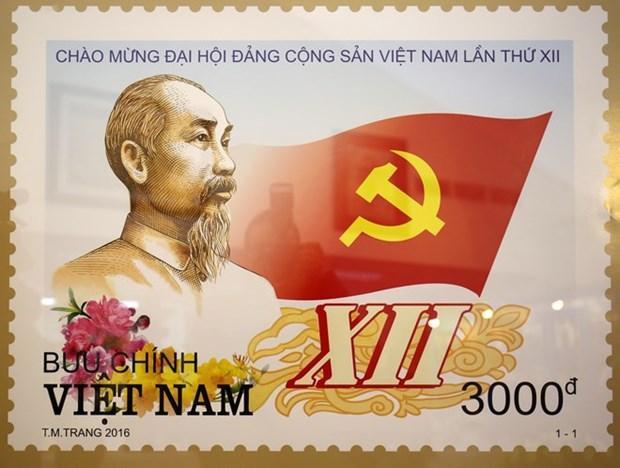 庆祝越共十二大的特种邮票正式发行 hinh anh 1
