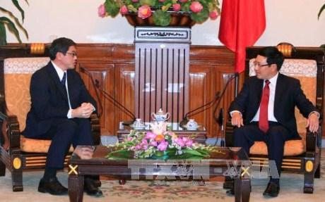 越南政府副总理兼外长范平明会见老挝和新加坡驻越大使 hinh anh 2
