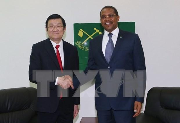 越南国家主席会见坦桑尼亚革命党主席 hinh anh 1