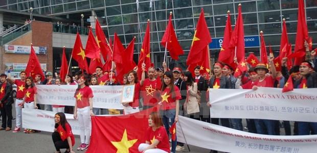 旅韩越南人举行游行活动反对中国在东海的行为 hinh anh 1