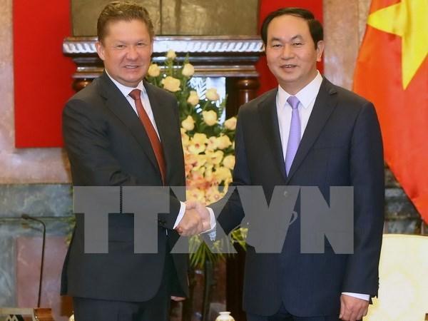 越南国家主席陈大光会见俄罗斯天然气工业股份公司总裁米勒 hinh anh 1
