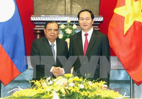 越南国家主席会见老挝最高领导人 hinh anh 1