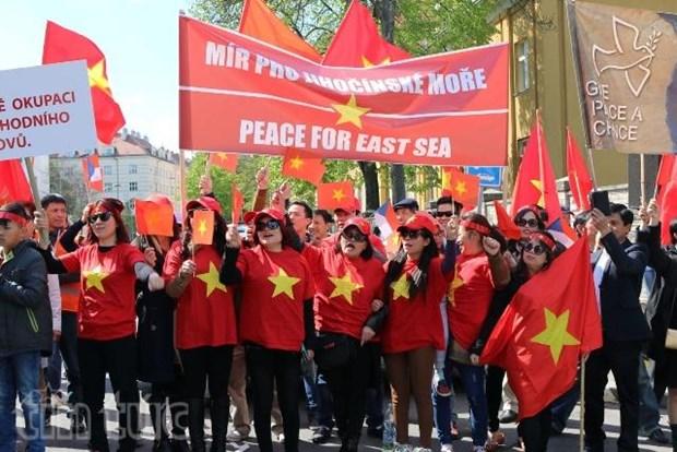 旅捷越南人向中国驻捷大使馆递交抗议书 hinh anh 1
