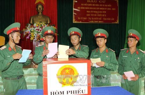 选举日临近:驻扎得乐省第95步兵团选民提前投票 hinh anh 1