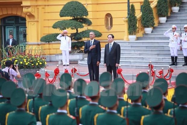 越南国家主席陈大光主持仪式欢迎美国总统奥巴马访越 hinh anh 1