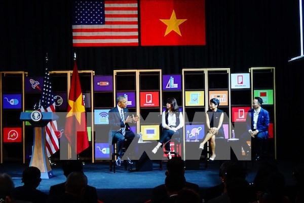 美国总统奥巴马同越南年轻企业家举行交流会 hinh anh 1