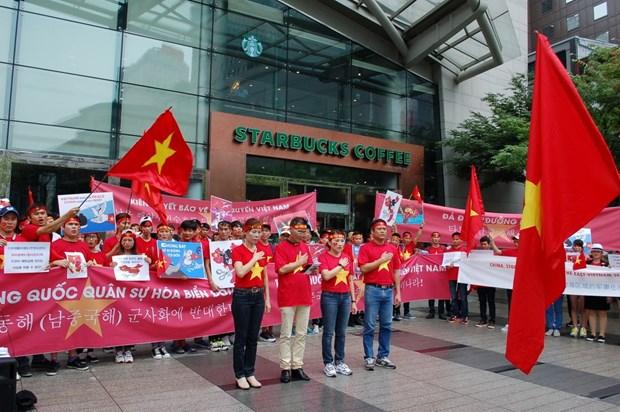 旅韩越南人举行游行活动 反对中国在东海的行为 hinh anh 1