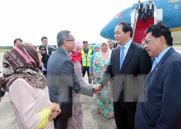 越南国家主席陈大光开始对文莱进行国事访问 hinh anh 1