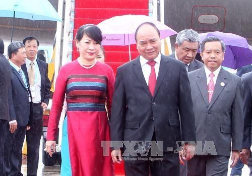 阮春福总理抵达老挝万象开始出席第28届和第29届东盟峰会及系列会议 hinh anh 1