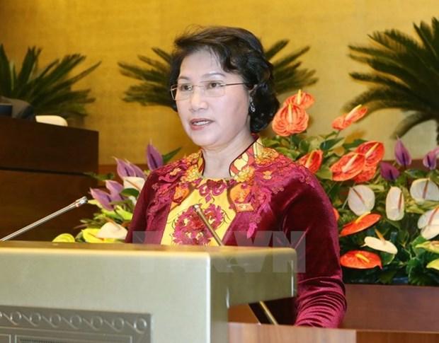 越南国会主席阮氏金银抵达万象 开始对老挝进行正式友好访问 hinh anh 1