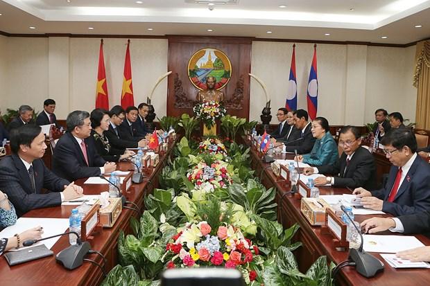 越南国会主席阮氏金银同老挝国会主席巴妮•雅陶都举行会谈 hinh anh 1