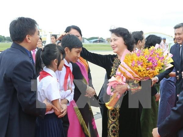 越南国会主席阮氏金银会见旅居柬埔寨越南侨胞 hinh anh 1