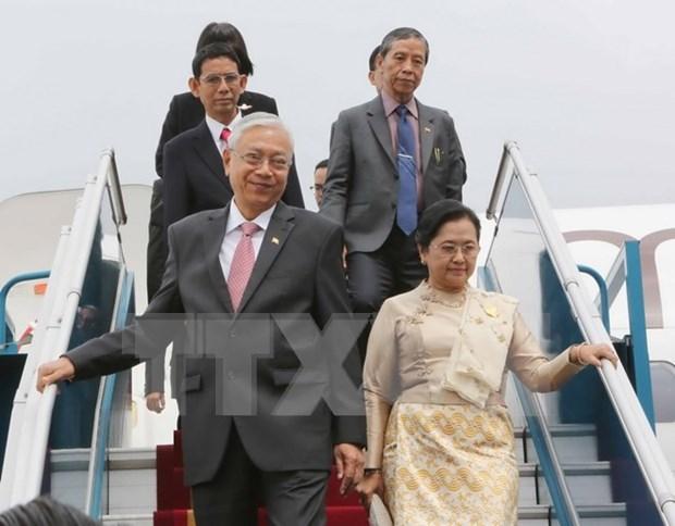 缅甸总统吴廷觉和夫人开始对越南进行国事访问 hinh anh 1