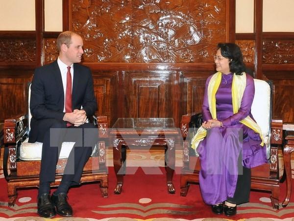越南国家副主席邓氏玉盛会见英国剑桥公爵 hinh anh 1