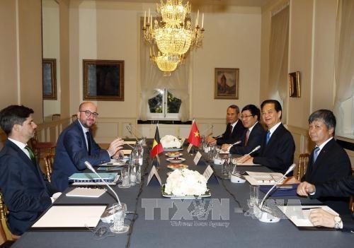 越南政府总理阮晋勇与比利时首相沙赫勒·米歇尔举行会谈 hinh anh 1